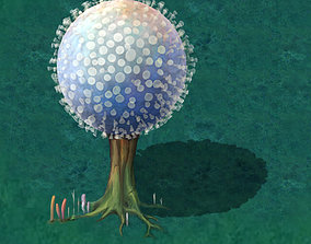 Cartoon version - pompon Spores vegetation 3D model