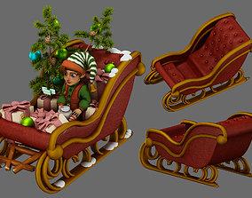3D christmas elf and christmas sleigh
