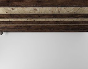 Wooden ceiling with beams 3D asset