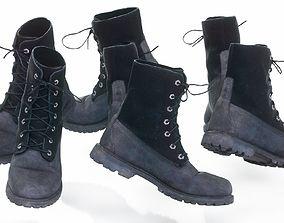 3D model Black Velvet Leather Boots