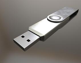 3D model USB Stick Low Poly Aluminium Version - 2