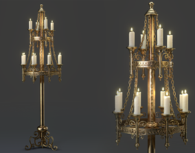 Candle Stand Holder - Game Ready 3D asset