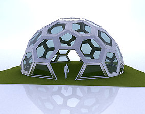 Geodesic Dome with frame and glass panels 3D model