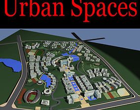 Urban Designed City with Pool 3D model
