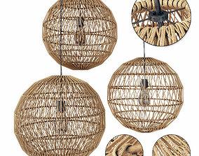 Lamp wood rotang wicker Sphere 3D model