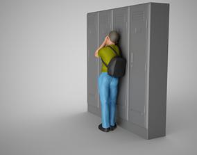 Sad Boy Leaning On Lockers 3D print model