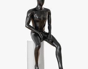 3D model Faceless sitting male mannequin 22