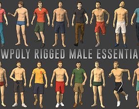 3D asset Lowpoly Rigged Male Essentials