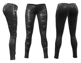 Skinny Pants with Zip Cutouts 3D asset low-poly