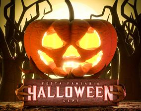 evil 3D model Halloween Pumpkin