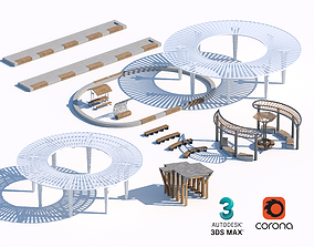 3D model wooden and concrete sunshade and benches set