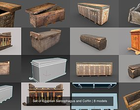 Set of Egyptian Sarcophagus and Coffin 3D model