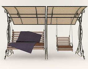 city Gazebo with swing 3D