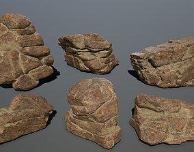 desert rocks mossy 3D asset VR / AR ready