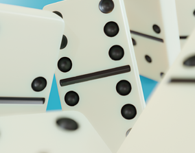 3D model Realistic Domino set full with file including box