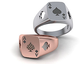 Ace Poker ring 3dmodel Enameled or with Diamonds