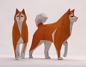 ORIGAMI---Dog Walking 3D model animated