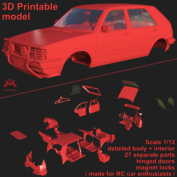 Volkswagen Golf II Country - Body and Interior 3D print model