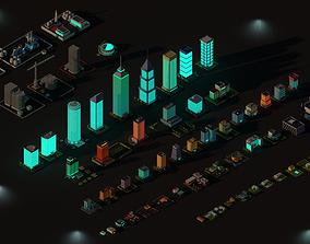 3D asset Cartoon Low Poly Night City Buildings Pack