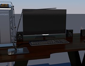 Table with computer and accessories 3D asset