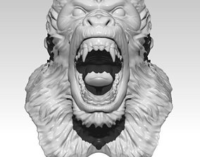 Monkey Gorrila Angry head bust 3D printable model