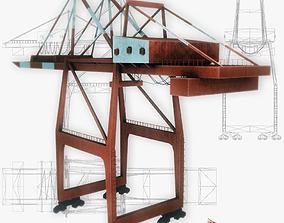 Port crane red low poly 3D model