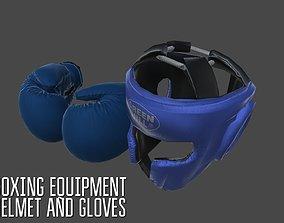 Boxing equipment - helmet and gloves 3D asset
