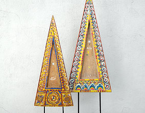 3D Indonesian Triangular Wood Carving
