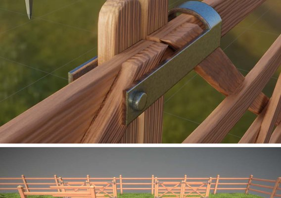 Low-Poly Pine Wood Fence with Animated Door (Blender-2.91 Eevee)