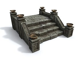 3D asset realtime PBR Stairs with fire