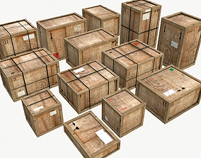3D asset Old Wooden Cargo Crates PBR