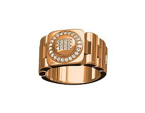 diamond-ring 3D print model GENTS RING