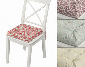 3D Ikea Ingolf chair with a pillow Hoff Ornaments 01