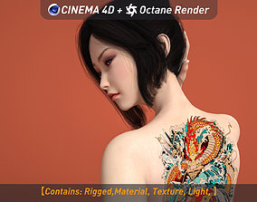 3D model Oriental beauty with tattoos