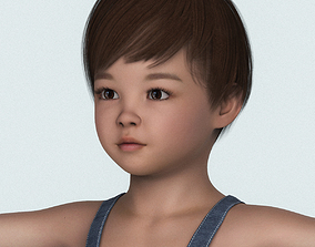 Realistic Child Baby Girl with Cloth 3D model