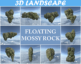 Low poly Floating Island Mossy Rock Pack 190503 3D model