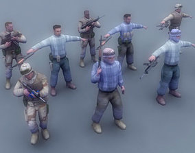 3D model US Army Soldier and Rebel Insurgents