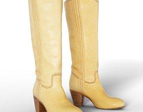 Boot Beige Women Footwear 3D model low-poly