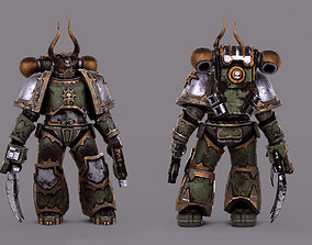 3D model rigged Chaos Spacemarine scifi warrior