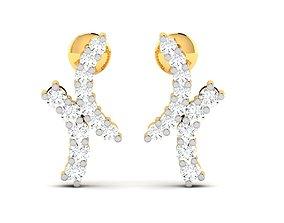 wedding silver Women earrings 3dm render detail