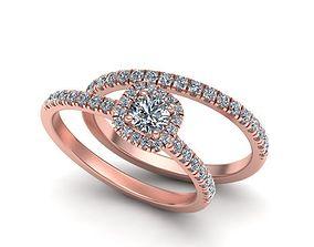 3D print model Wedding set-cushion halo ring N0265