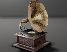 Gramophone Low-Poly 3D asset