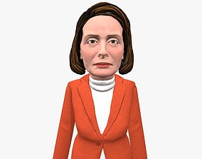 Nancy Pelosi 3D caricature low poly game rady animated 1