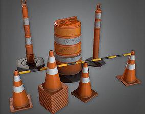 3D asset CON - Road Caution Pylons Set - PBR Game Ready