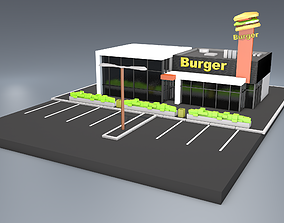 Low poly 3D model Burger cafe - Urban building game-ready