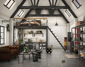 Loft Apartment Industrial style 3D animated