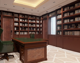 office scene and books - corona 3D print model