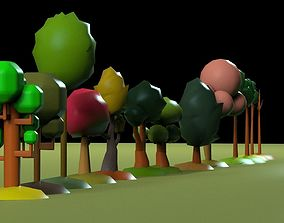 Low Poly tree pack 3D model realtime