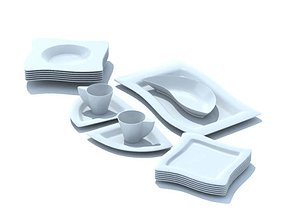 3D Modern Age Plates And Cups
