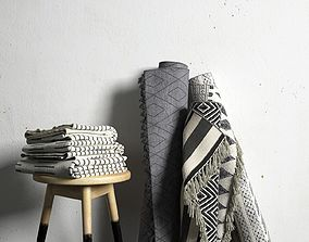 Stool and Aztec Rugs 3D